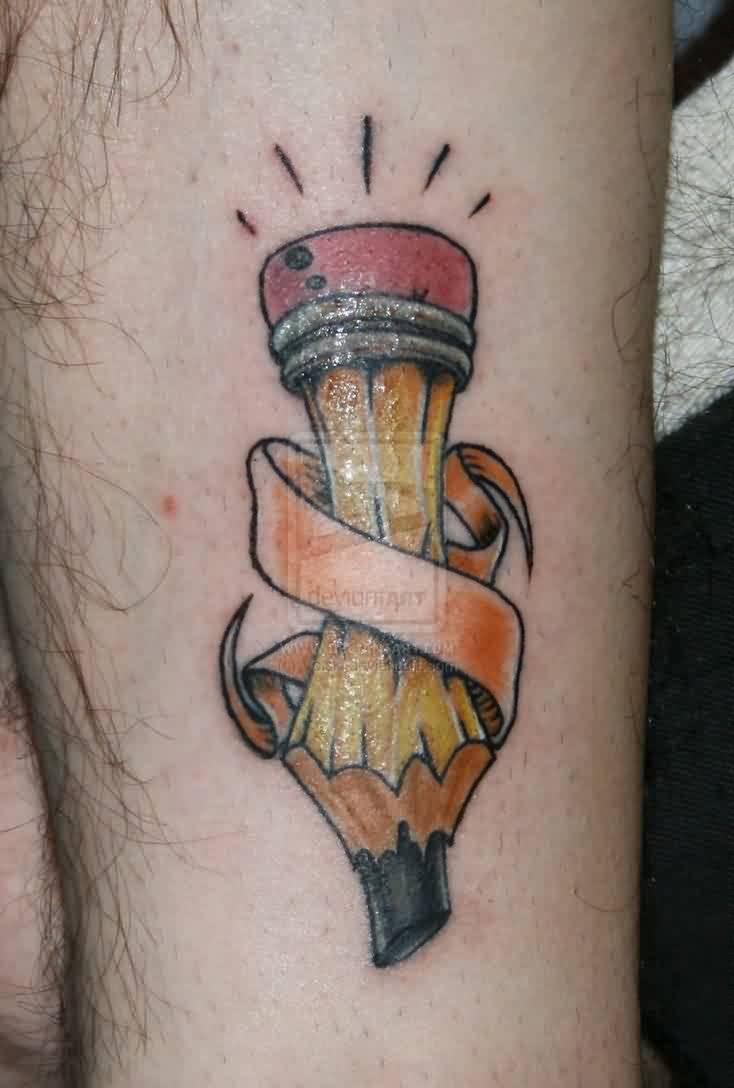 Awesome Pencil With A Banner Tattoo