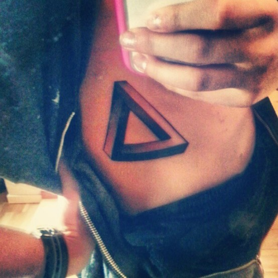 Awesome Penrose Triangle Tattoo On Chest