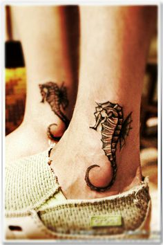 Awesome Seahorse Tattoos On Ankle