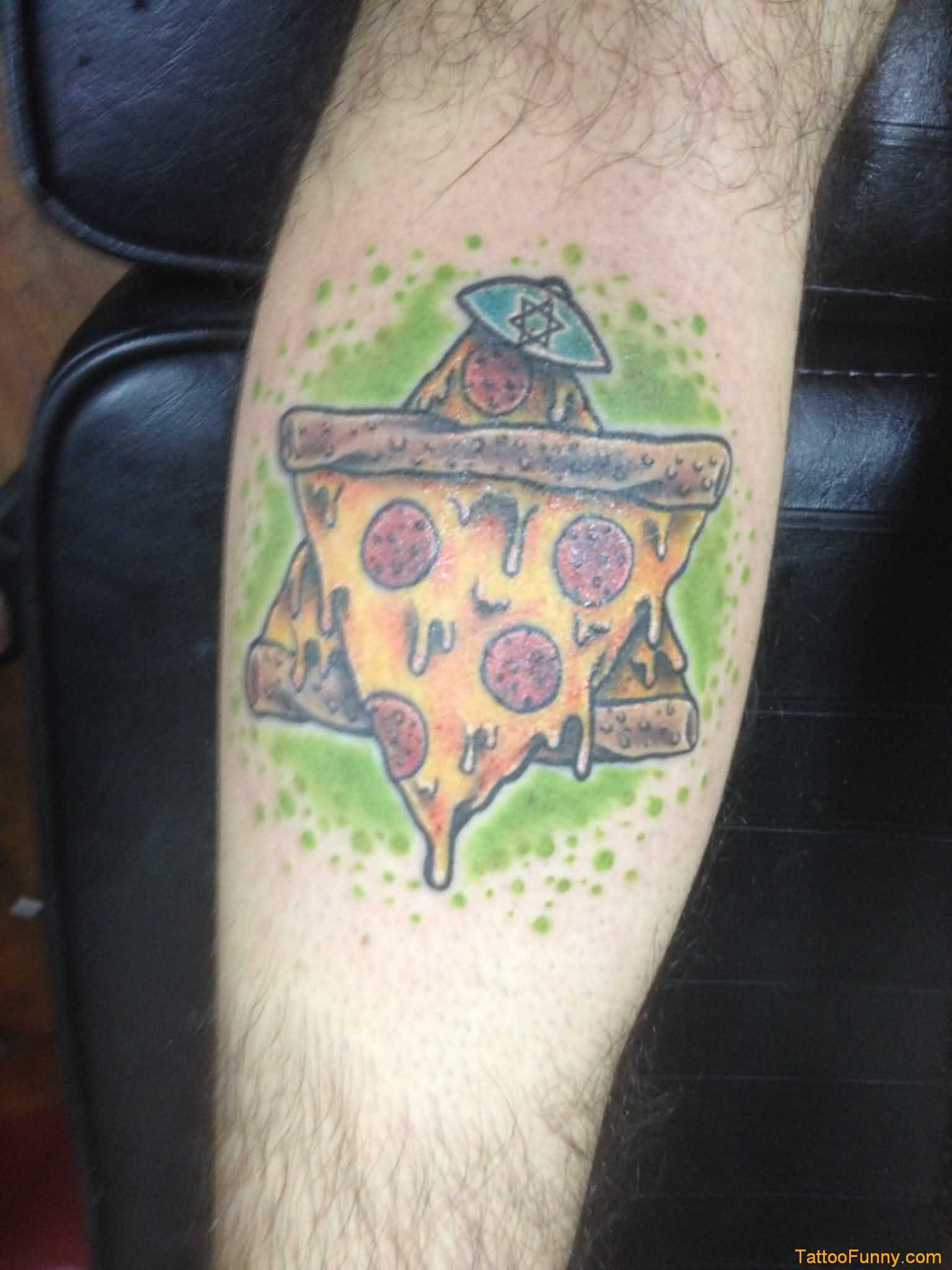 Awesome Star Of Pizza Tattoo