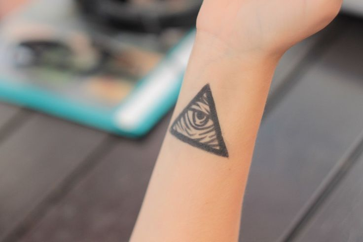 Awesome Triangle Eye Tattoo On Wrist