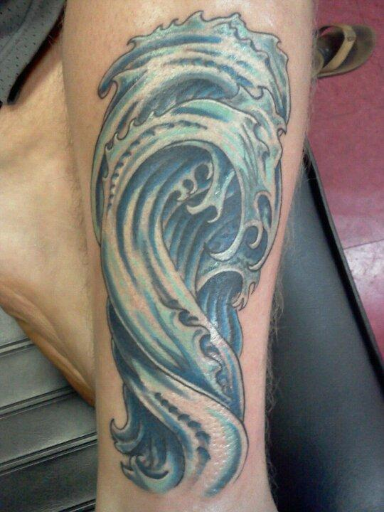 Awesome Wave Tattoos On Leg