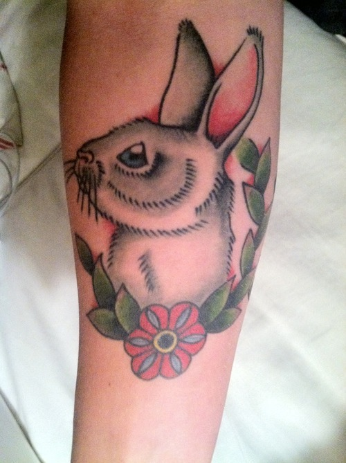 Awesome White Rabbit And Flower Tattoos
