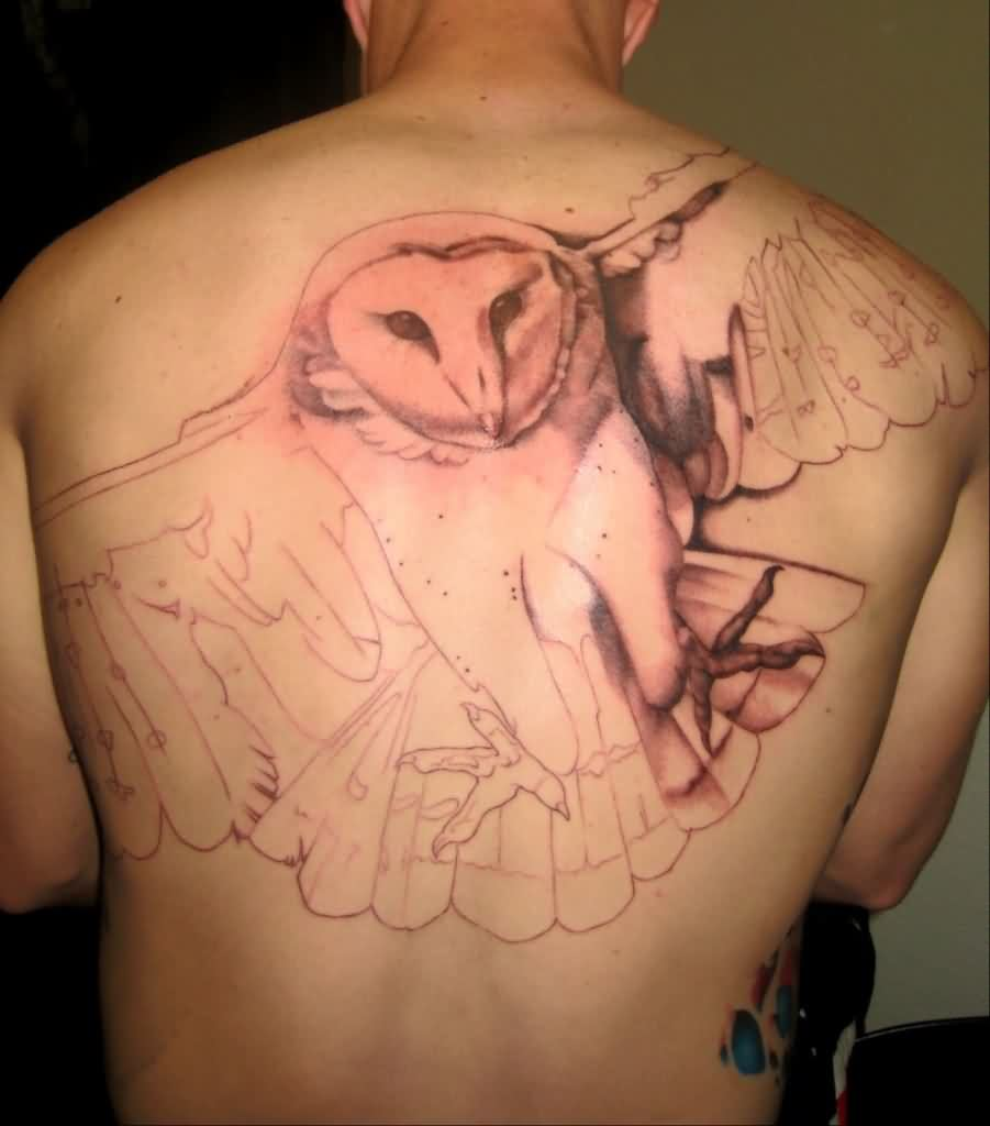 Awful Owl Tattoo On Back