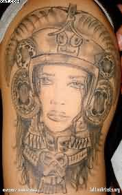 Grey Ink Female Warrior Tattoo