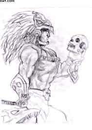 Aztec Warrior Holding Skull Tattoo Design