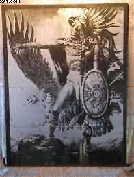 Aztec Warrior Tattoo Wall