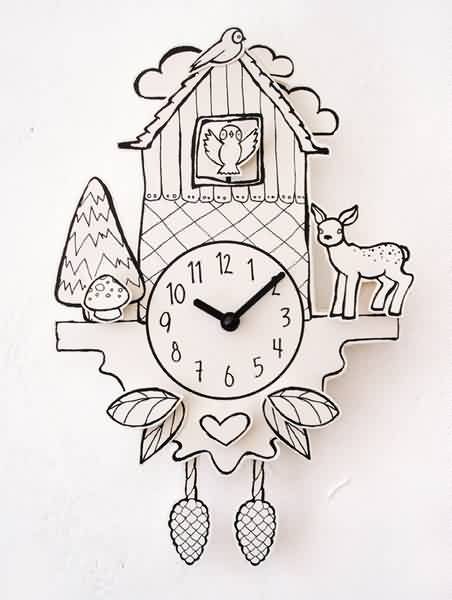Baby Deer On Cuckoo Clock Tattoo Design