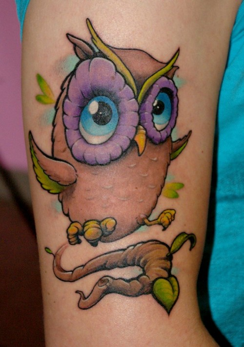 Baby Owl With Blue Eyes Tattoo