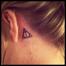 Back Ear Little Harry Potter Triangle Tattoo