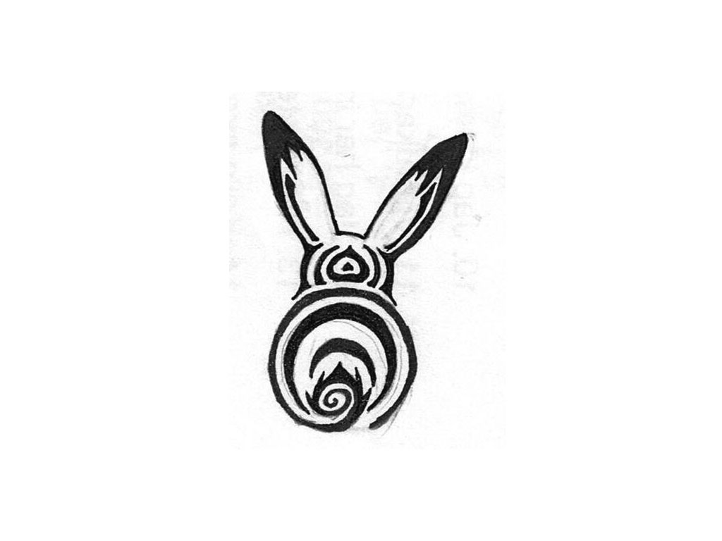 Back Look On Rabbit Tattoo Design