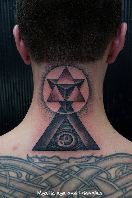 Back Neck Eye Triangle Tattoo Style For Men