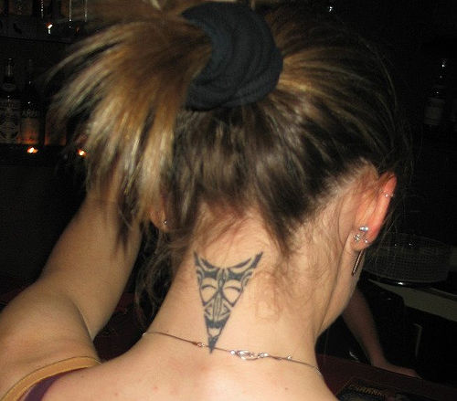 Back Neck Maori Triangle Tattoo For Girls