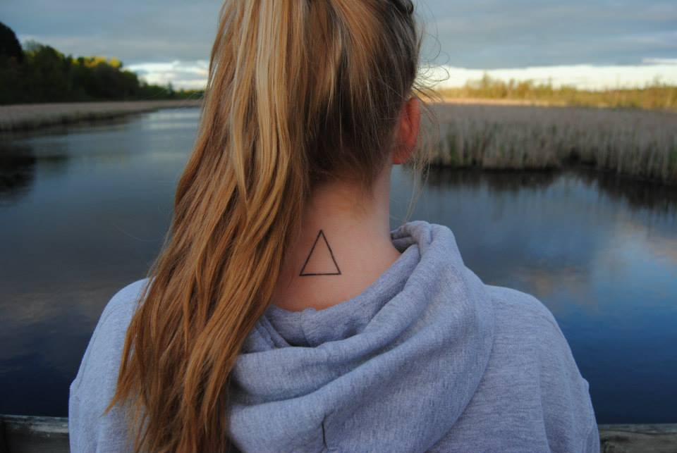 Back Neck Outline Triangle Tattoo