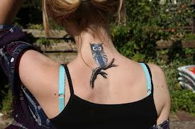 Back Neck Owl Tattoo Fashion For Girls