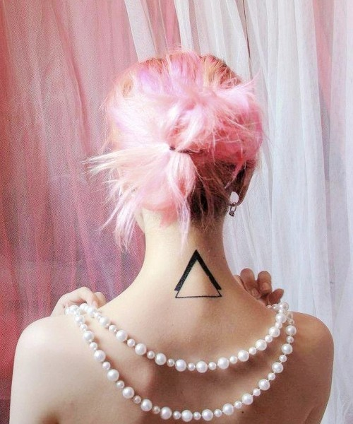 Back Neck Triangle Tattoo Fashion For Girls And Women
