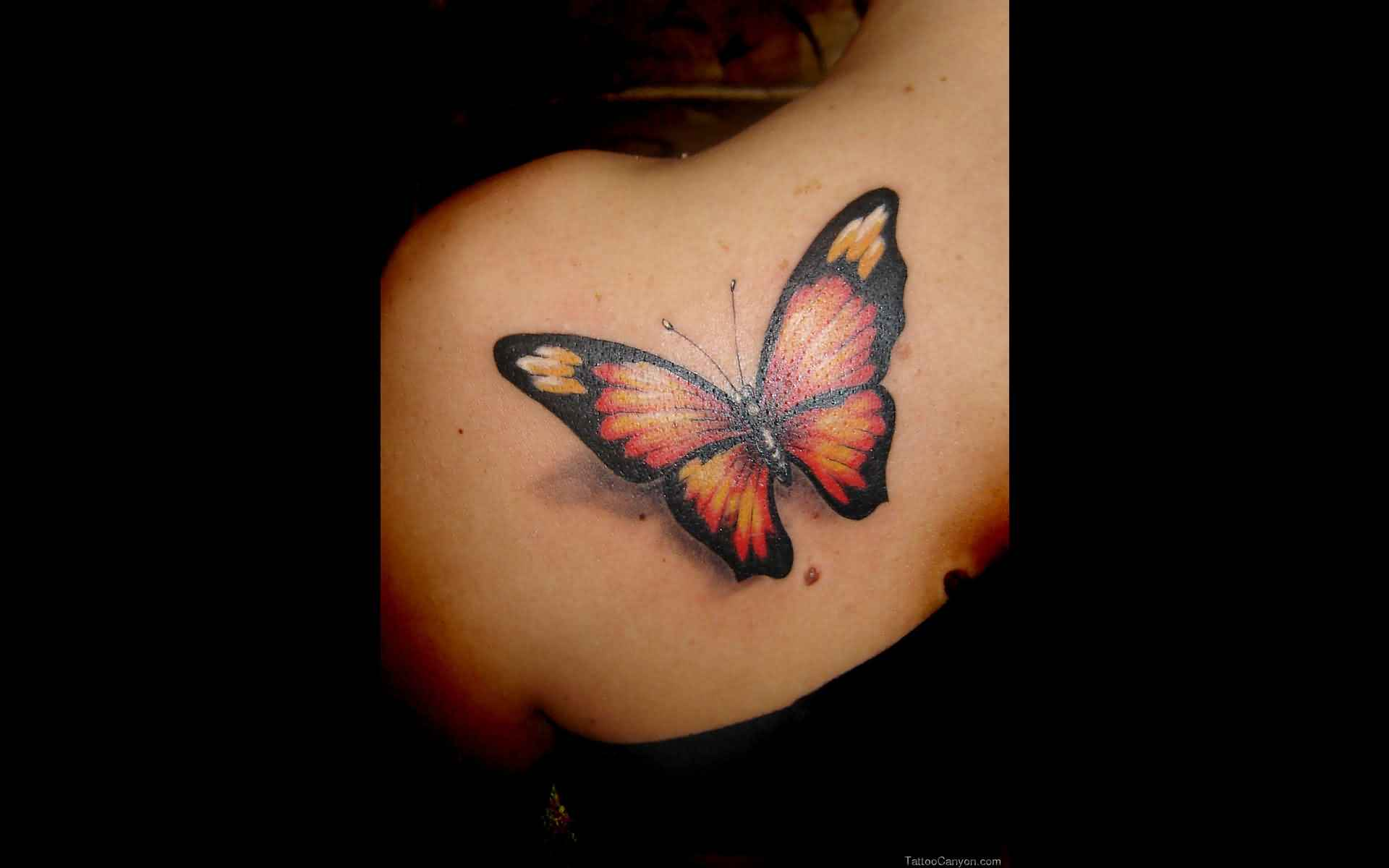 Back Shoulder 3D Butterfly Tattoo For Girls
