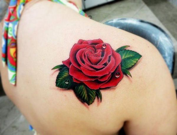 Back Shoulder 3D Red Rose Tattoo