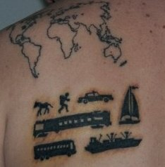 Back Shoulder Map Tattoo