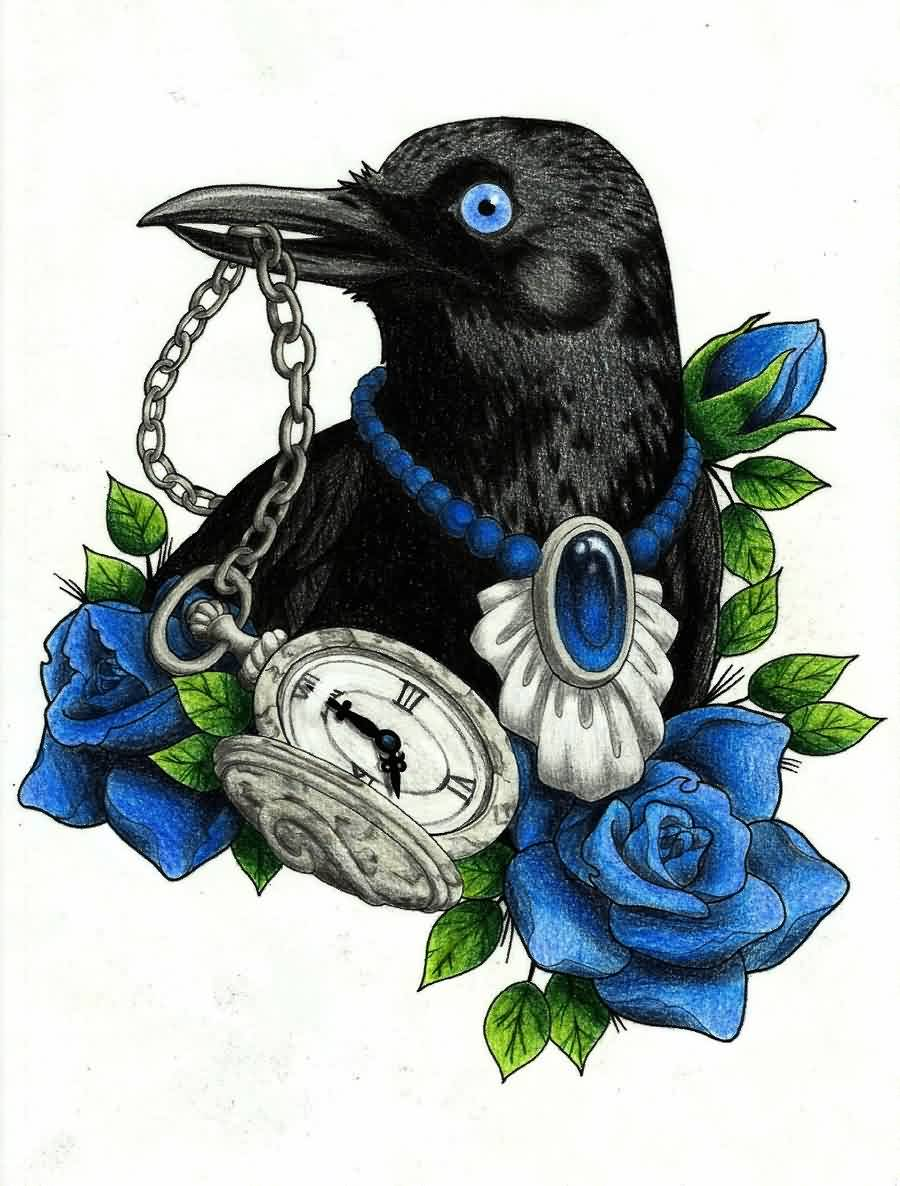 Balck Crow With Roses Tattoo Design