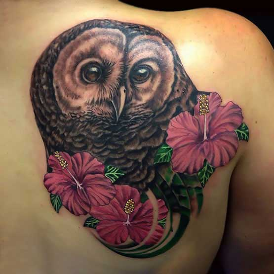 Bald Owl And Pink Flower Tattoos On Right Back Shoulder