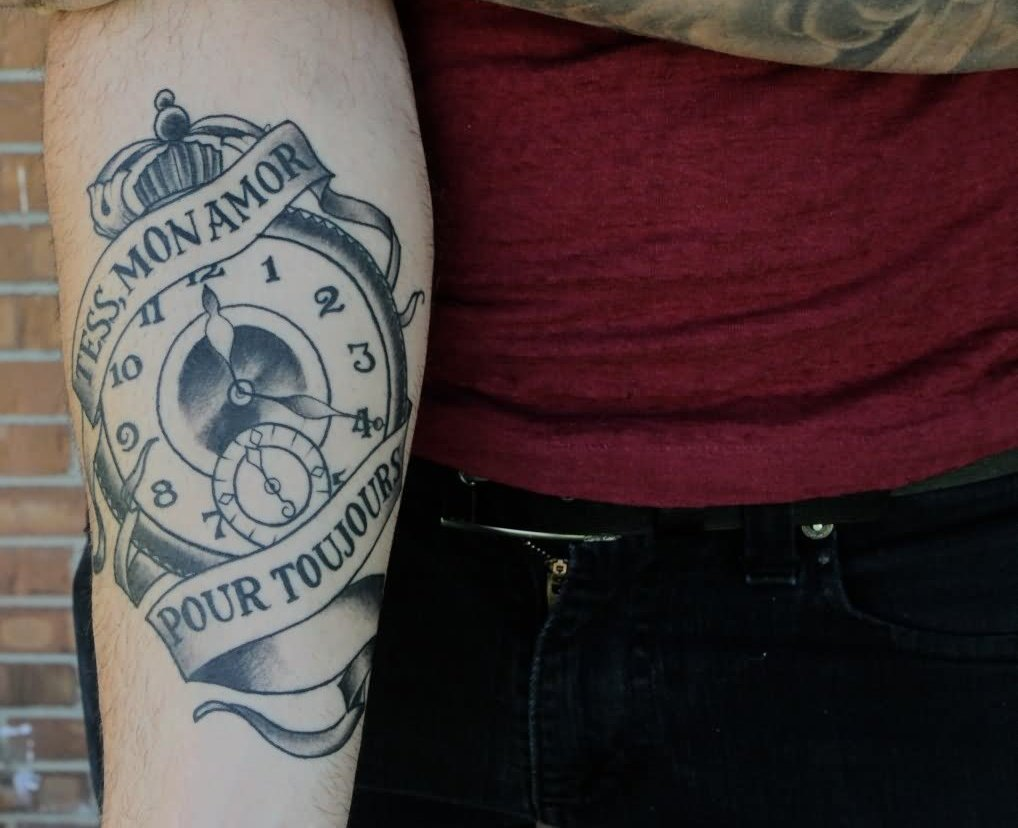 Banner And Clock Tattoo On Forearm For Guys