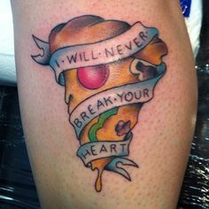 Banner And Delicious Pizza Tattoo