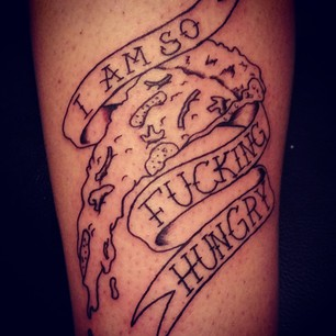 Banner And Pizza Slice Tattoos