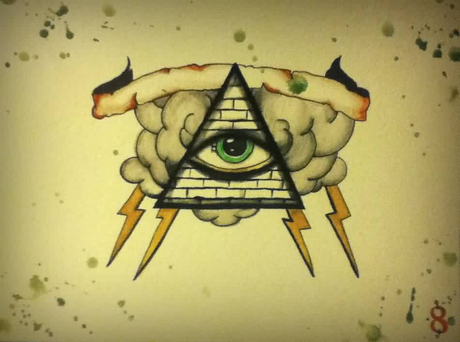 Banner Clouds And Eye Triangle Tattoos Print