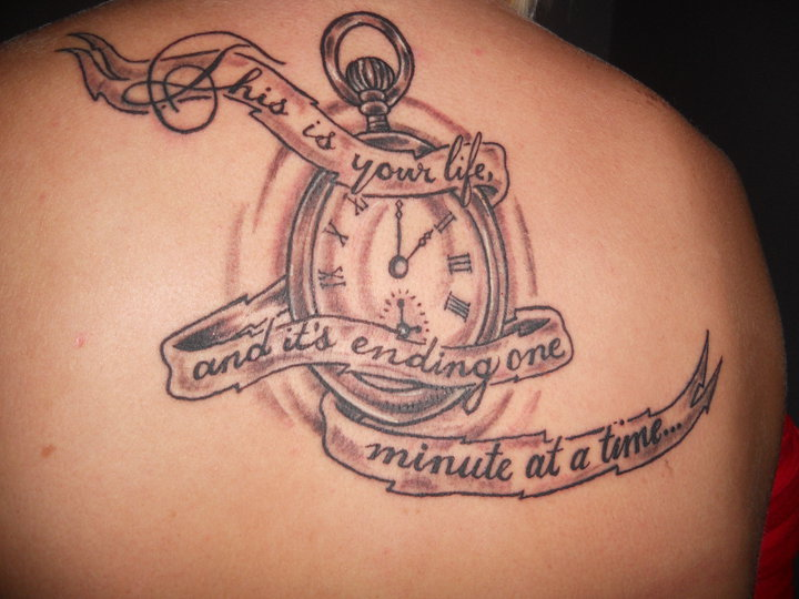 Banner With Time Clock Grey Ink Tattoos