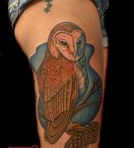 Barn Owl On Branch Tattoo On Thigh