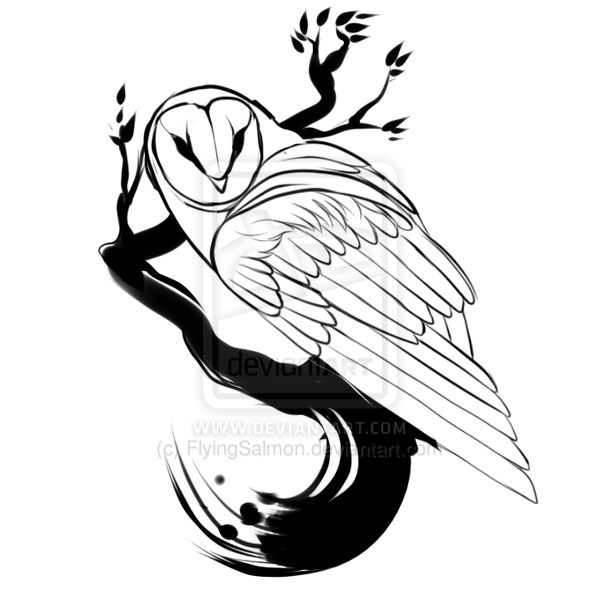 Barn Owl Tattoo Stencil