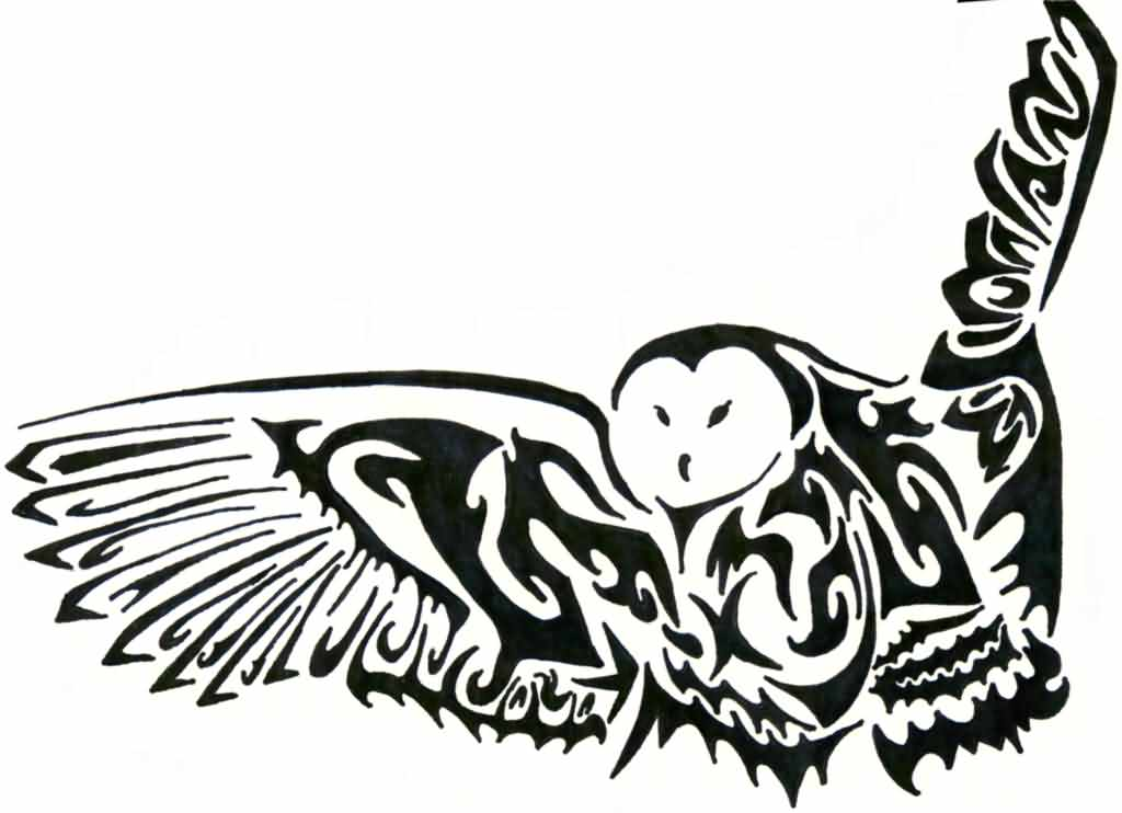 Barn Owl Tribal Tattoo Design