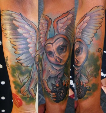 Barn Owl With Heart Tattoo On Sleeve