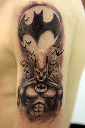 Batman 3D Tattoos On Half Sleeve