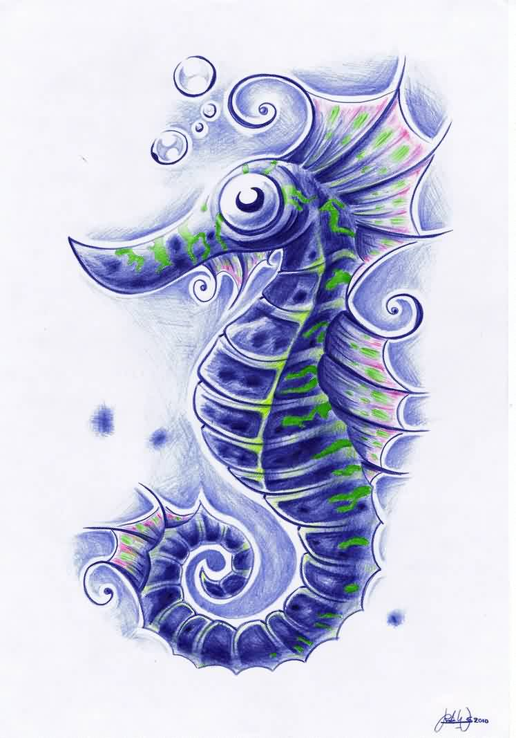 Bbbbles And Seahorse Tattoos Idea