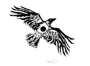 Be Free Crow Tattoo Design