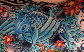 Beautiful Asian Fish And Waves Tattoos