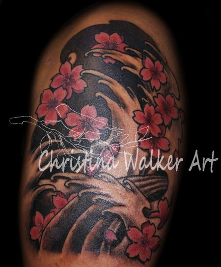 Beautiful Asian Waves And Blossoms Tattoos