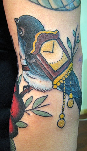 Beautiful Bird And Cuckoo Clock Tattoos