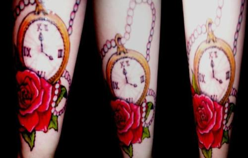 Beautiful Clock And Rose Tattoos