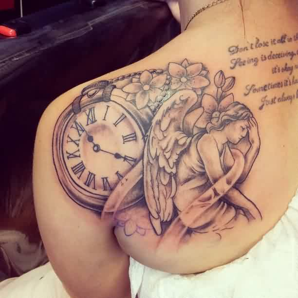 Beautiful Clock And Sad Angel Tattos On Back Shoulder