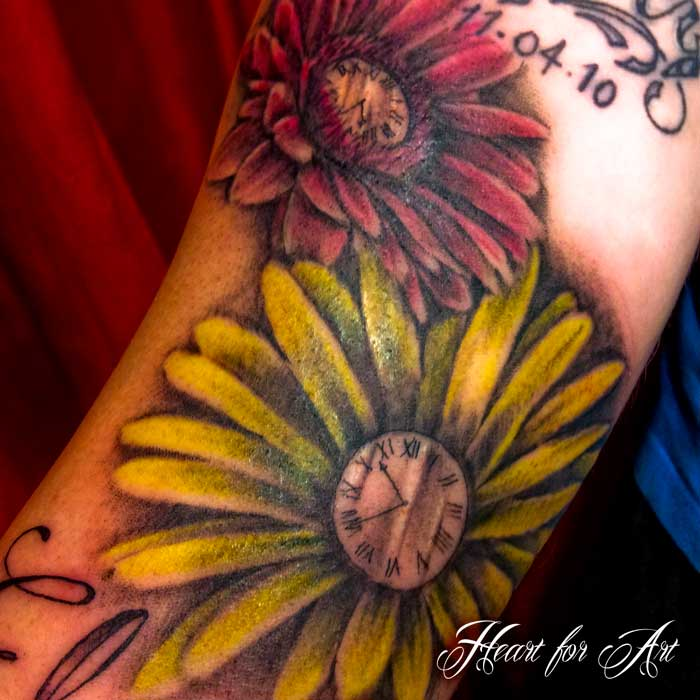 Beautiful Clock Flowers Tattoos