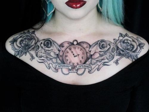 Beautiful Clock Skulls And Rose Tattoos On Chest