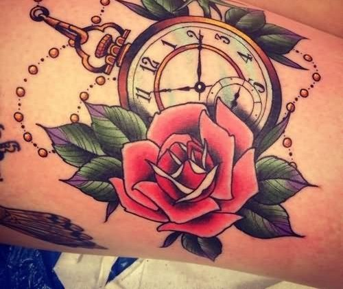 Beautiful Clock With Rose Tattoo