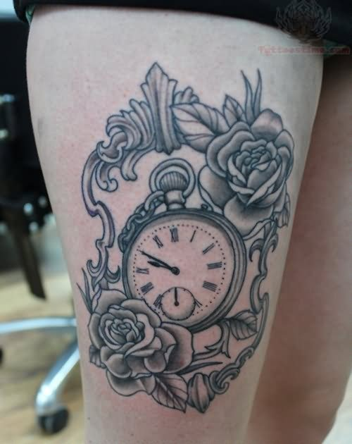Beautiful Clock With Roses Tattoos On Thigh