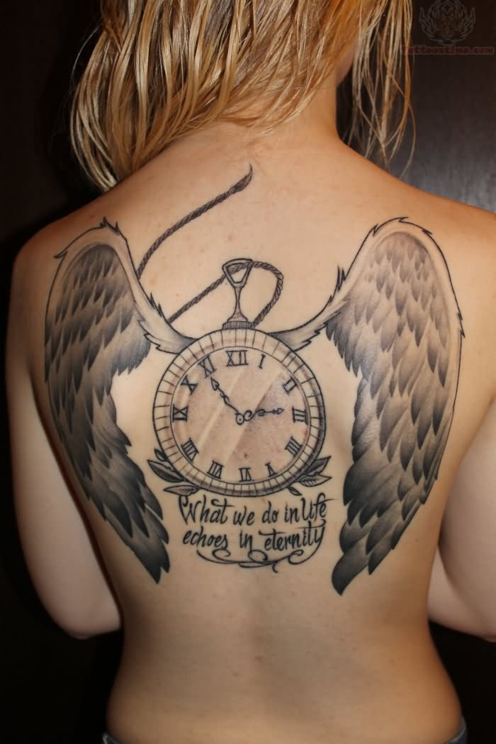 Beautiful Clock With Wings Tattoo On Topless Back