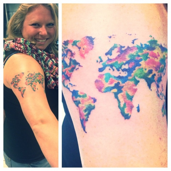Beautiful Color Map Tattoo On Shoulder Of Woman
