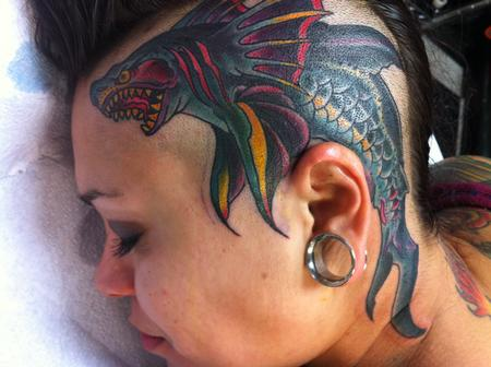 Beautiful Color Shark Tattoo On Head For Women