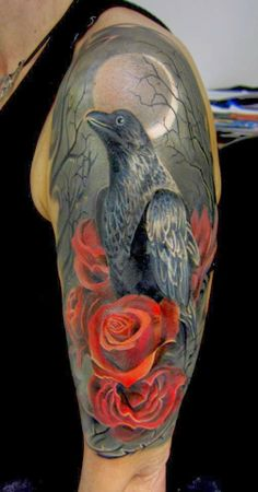 Beautiful Crow And Rose Tattoos On Half Sleeve